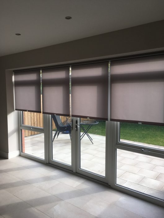 4 x sun control fabric roller blinds loaded into 1 x 4.5 metre wide cassette